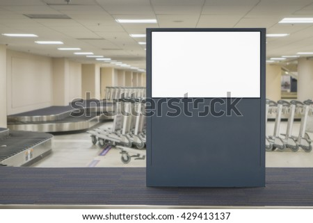 Empty blank billboard at airport ,train station,billboard advertising public commercial,ready for new advertisement,selective focus - stock photo