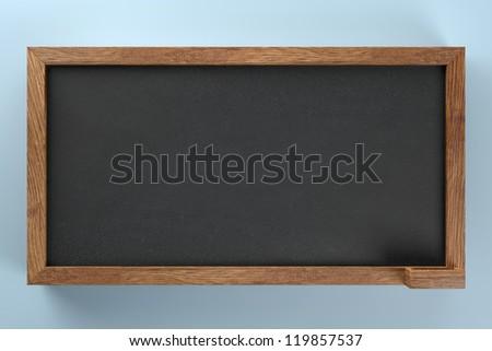 Empty blank black chalkboard - stock photo