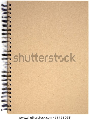 Empty blank front page cover of spiral bound note pad isolated isolated on white background. - stock photo
