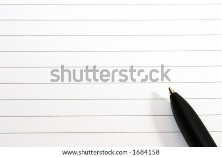 Empty blank ring, notepad, one black pen on right of white page - stock photo