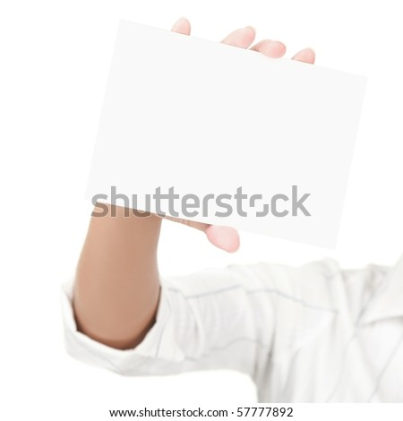 Empty blank sign isolated on white background, Female hand holding the card with copy space. - stock photo