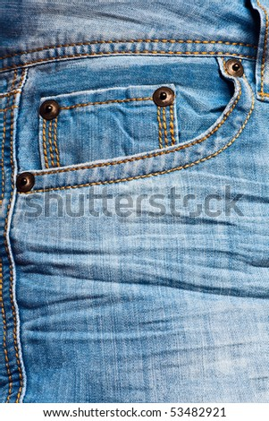 Empty blue jeans pocket - stock photo