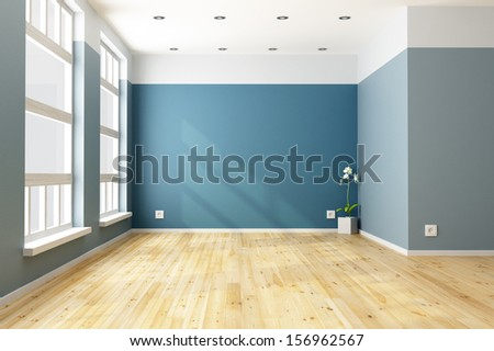 Empty blue living room with big windows - rendering - stock photo