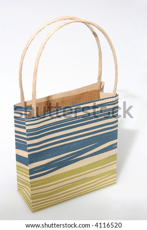 Empty blue paperbag isolated on white - stock photo