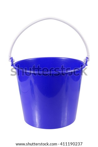 empty blue plastic household bucket isolated on white background - stock photo