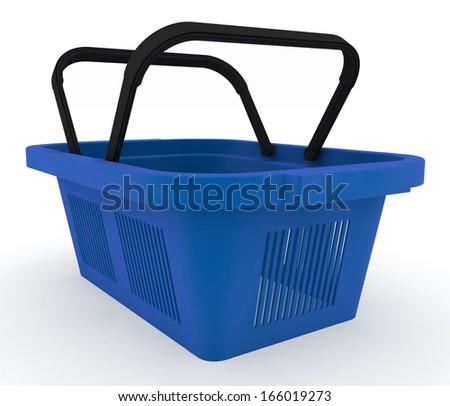 Empty blue plastic shopping basket. 3d render illustration on white background - stock photo