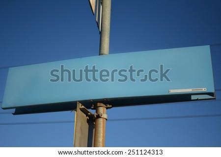 Empty Blue Signpost - stock photo