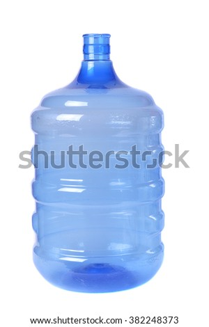 empty blue transparent waters gallon on white background - stock photo