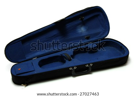 Empty blue violin case, isolated on white - stock photo