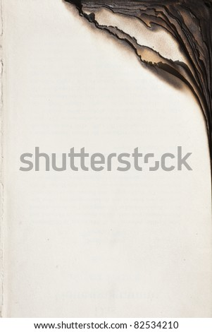 Empty book pages with burnt edge - stock photo