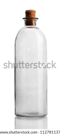 empty bottle, isolated on white - stock photo