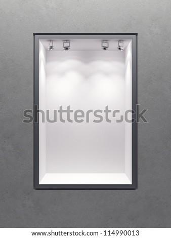 empty boutique showcase, 3d render - stock photo