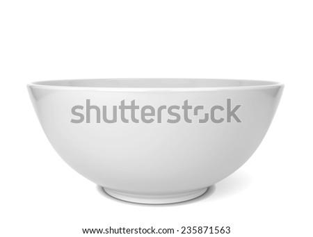 Empty bowl. 3d illustration isolated on white background  - stock photo