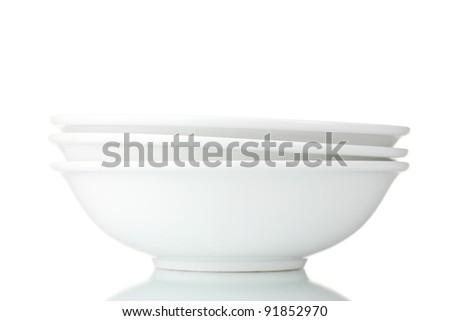 empty bowls isolated on white - stock photo