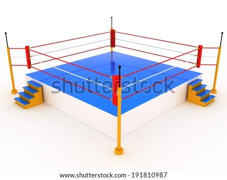 Empty boxing ring on white background  - stock photo