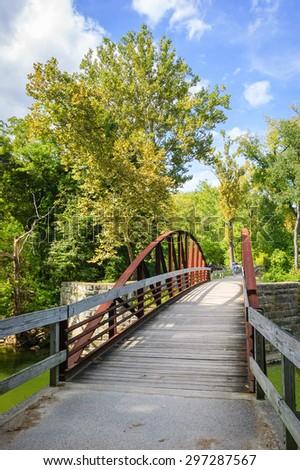 Empty Bridge at Cuyahoga Valley National Park - stock photo