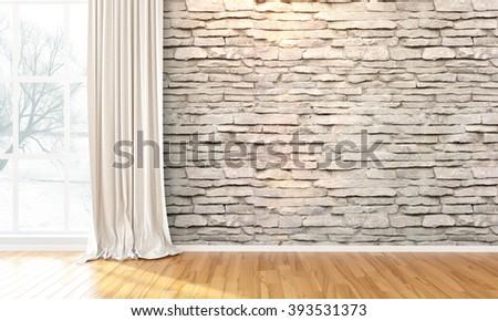 Empty bright interior . 3D render - stock photo