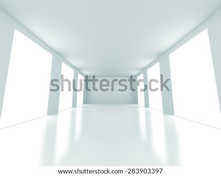 Empty Bright Light Room Interior Architecture Background. 3d Render Illustration - stock photo