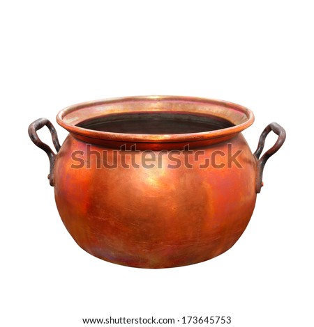Empty bronze pot. Traditional handmade product of European Gypsies (kettlesmith craft) from 19th century. - stock photo