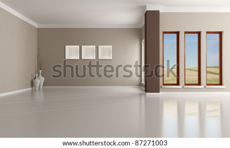 Empty brown and beige  modern interior - rendering - the image on background is a my photo - stock photo