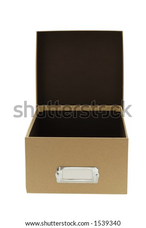 Empty brown box with lid standing in the background. - stock photo