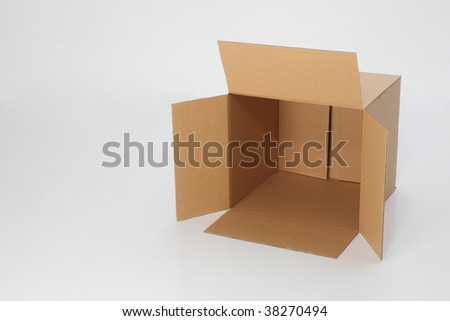 empty brown card box open on the plain background - stock photo