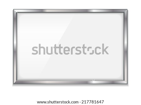 Empty bulletin board with metal frame - stock photo