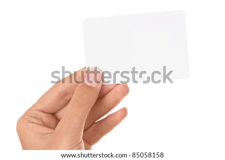 Empty business card in a woman's hand isolated on white background. - stock photo