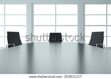 Empty business meeting room with table and chairs - stock photo