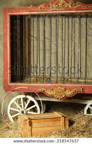 Empty cage for animals with gold ornament in circus - stock photo