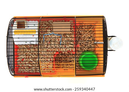empty cage for small animal isolated on the white background - stock photo