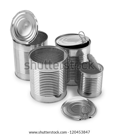 empty cans on white background - stock photo