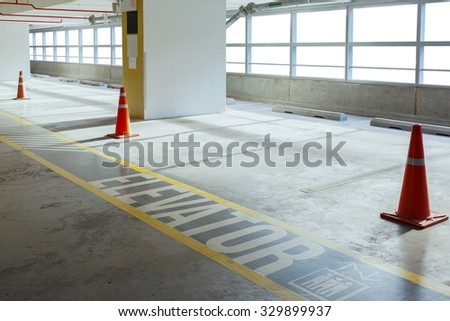 Empty car parking line and red cone with walk way, can use as background - stock photo
