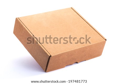 Empty Cardboard Box isolated on a White background - stock photo