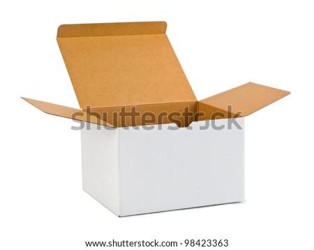Empty cardboard box isolated on white background - stock photo