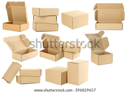 Empty cardboard boxes isolated on a white, collage - stock photo