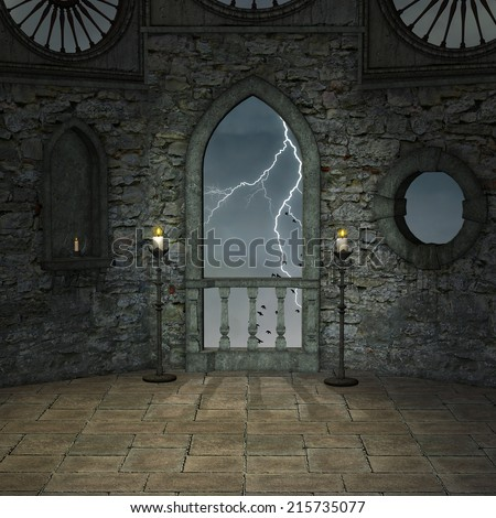 Empty castle room - stock photo