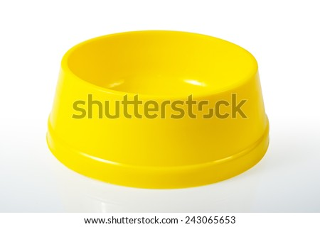 Empty cat food bowl. Isolated on white background,Clipping Path - stock photo
