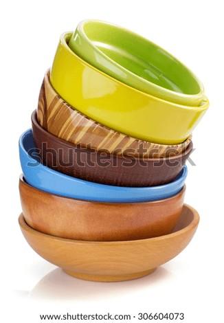 empty ceramic bowl isolated on white - stock photo