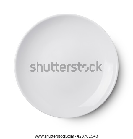 Empty ceramic round plate isolated on white - stock photo