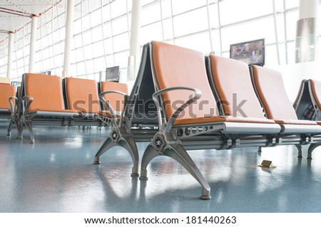 Empty Chair in airport - stock photo