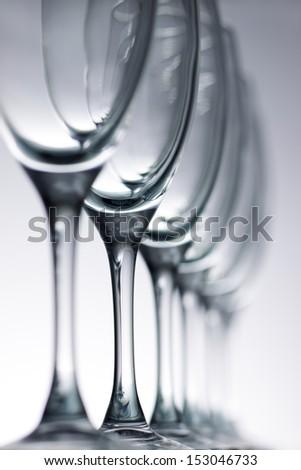 Empty champagne glasses - stock photo