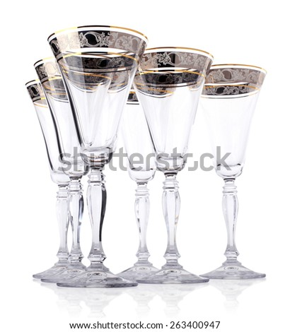 Empty champagne glasses isolated - stock photo