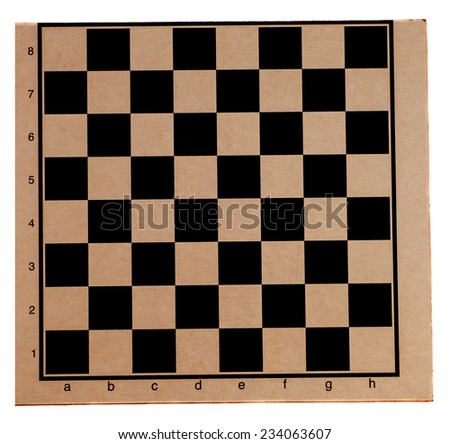 Empty chess board isolated on white background  - stock photo