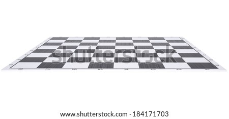 Empty chessboard. Render on a white background - stock photo