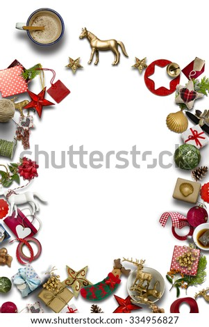 empty Christmas card, collection, gifts and decorative ornaments, on white background. photographic montage - stock photo