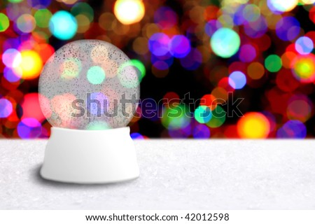 Empty Christmas Snow Globe With Holiday Background. Insert Your Own Image or Text - stock photo