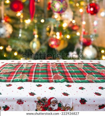 empty christmas table background - stock photo