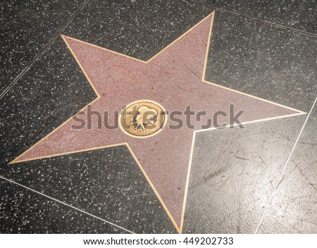 Empty cine star on Hollywood Walk of Fame - stock photo