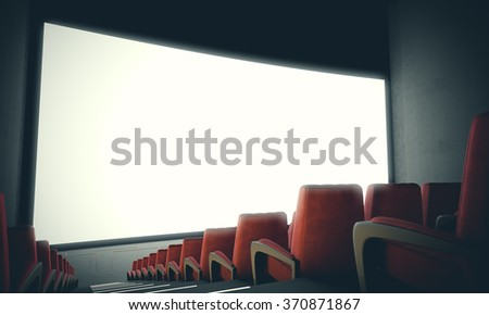 Empty cinema screen with red seats. With color filter,wide. 3d render - stock photo